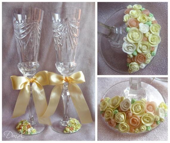 свадебные бокалы, полимерная глина, атласная лента